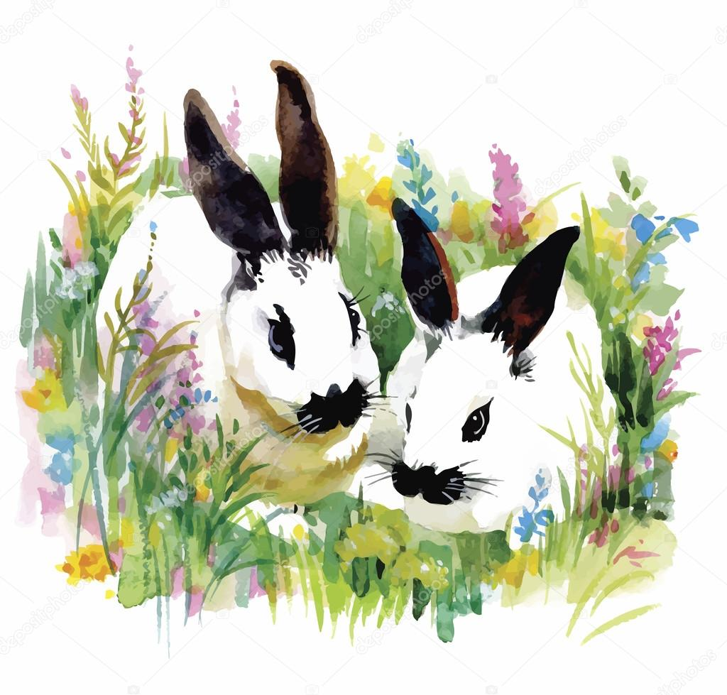 Watercolor rabbits in green grass vector illustration