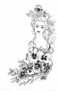 Illustration, depicting a portrait of beautiful young woman with flowers