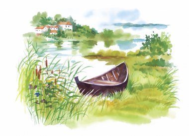 Watercolor rural Landscape with boat vector illustration