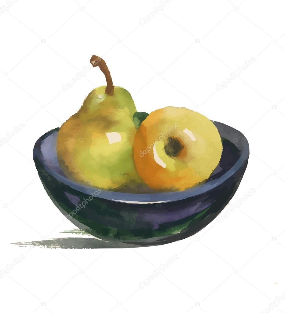 Watercolor still life with pear and apple on plate