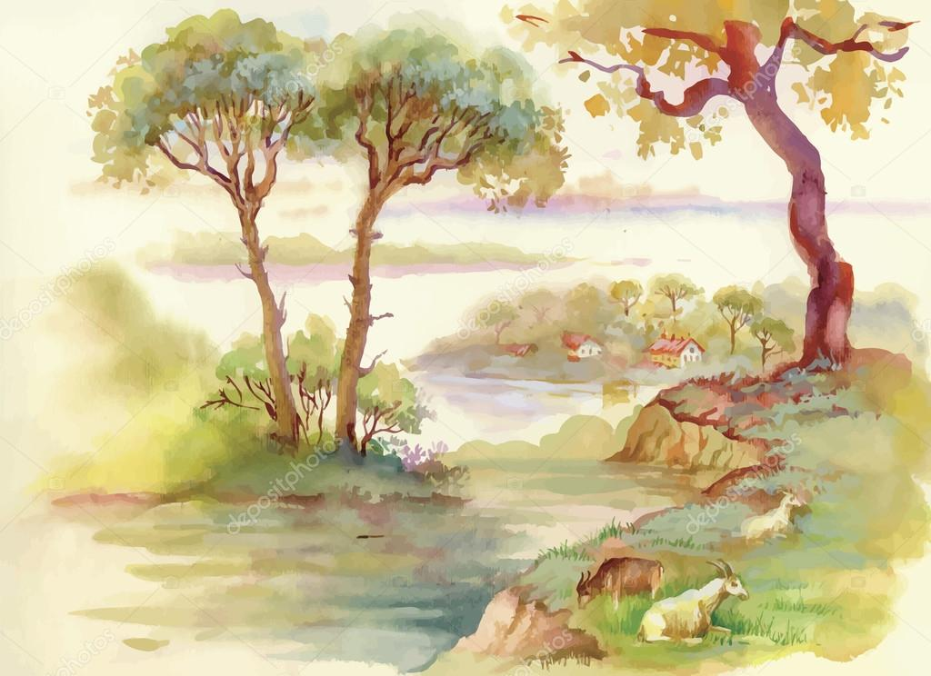 Summer Landscape with goats watercolor illustration