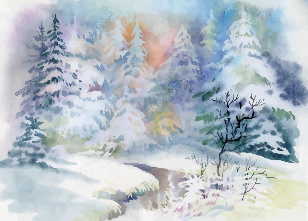 水彩冬風景イラスト ストックベクター Kostan Proff 83770616