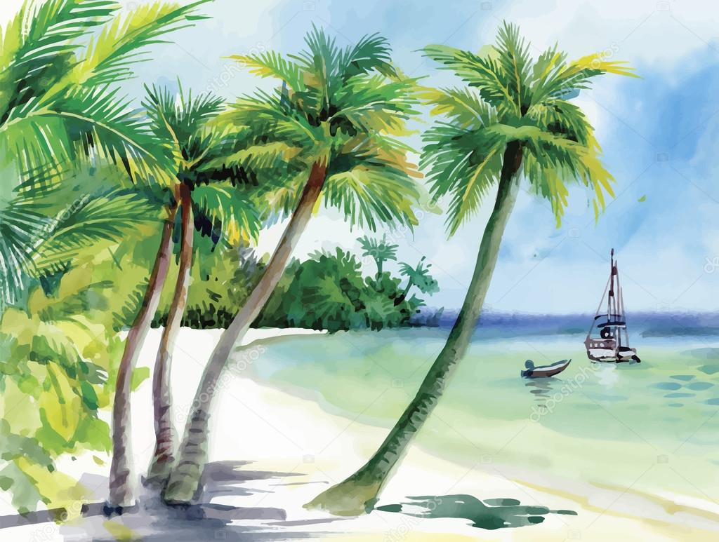 Summer beach with palm trees, seagulls and boat on shore, hand drawn, vector