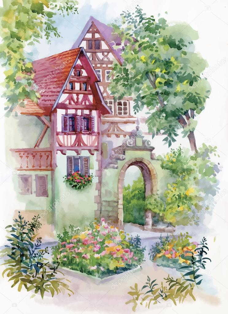 Watercolor painting of house in woods illustration