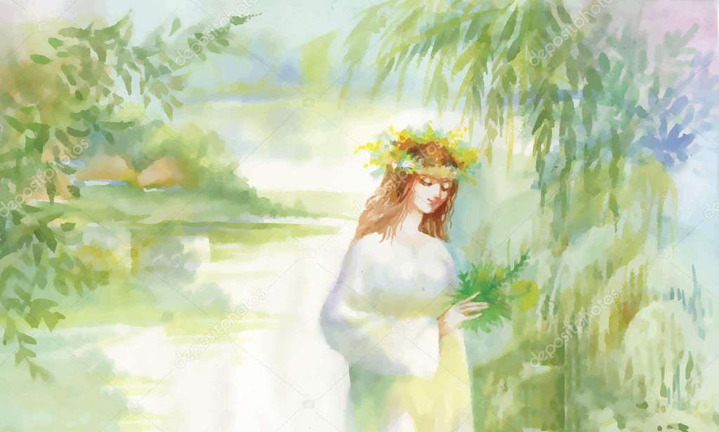 Watercolor fairy woman illustration with flowers near lake