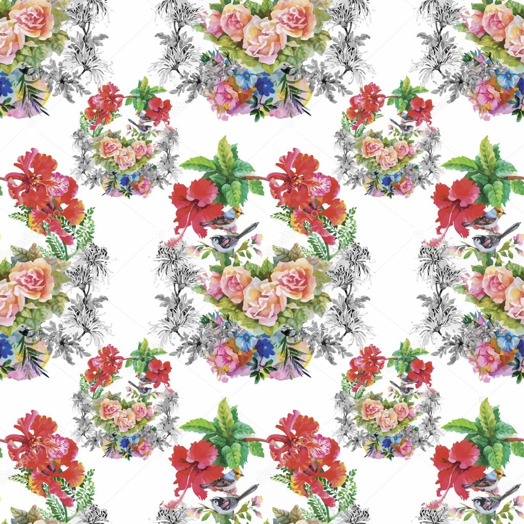 Watercolor Wild exotic birds on flowers seamless pattern on white background