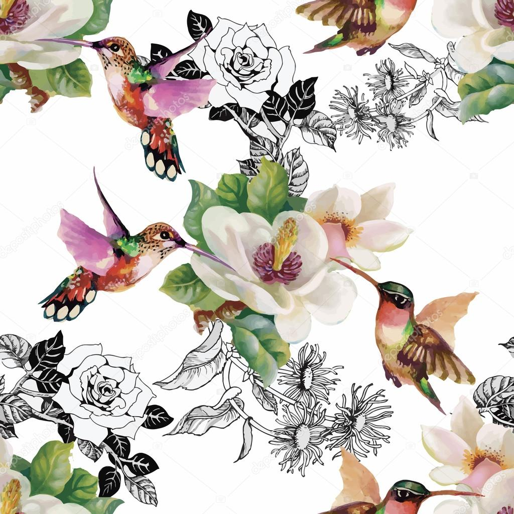 Tropical floral watercolor seamless pattern with colibris and flowers. Watercolor painting.