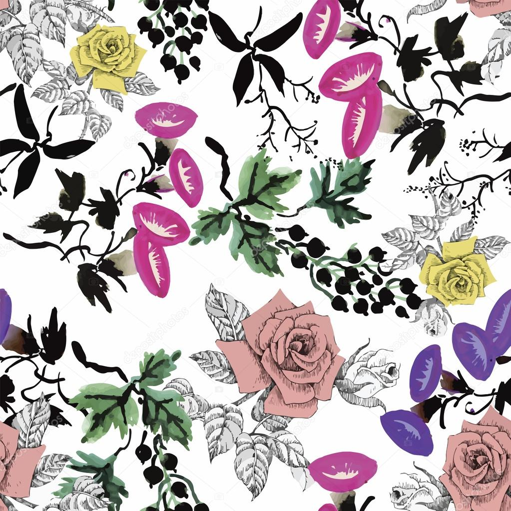 Watercolor seamless pattern with roses. Background for web pages, wedding invitations, save the date cards.