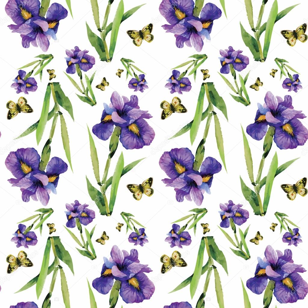Seamless pattern with watercolor irises. Vector illustration