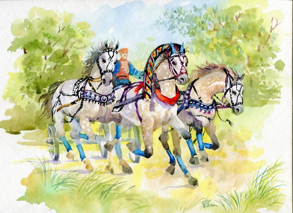 At Arabası Açık Havada Stok Foto Kostan Proff 84968884