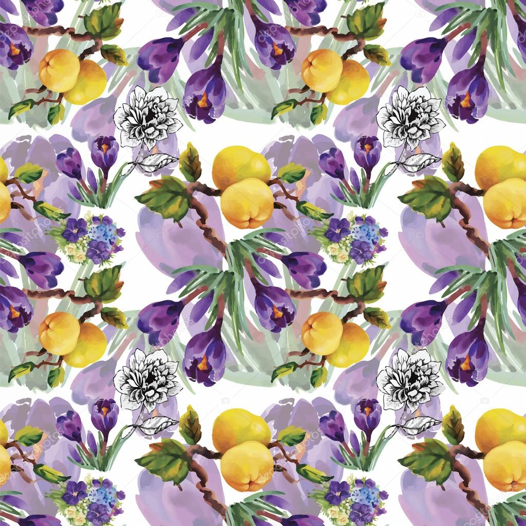 Seamless Pattern With Beautiful Flowers Watercolor Painting Stock