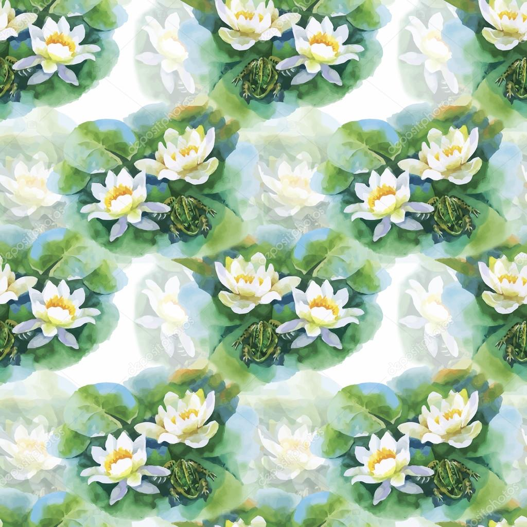 Dessin sans soudure de fleurs aquarelle n nuphar blanc avec grenouille sur tang image - Nenuphar dessin ...