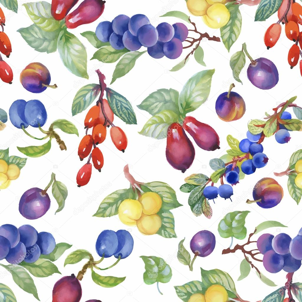Seamless watercolor pattern with leafs and berries