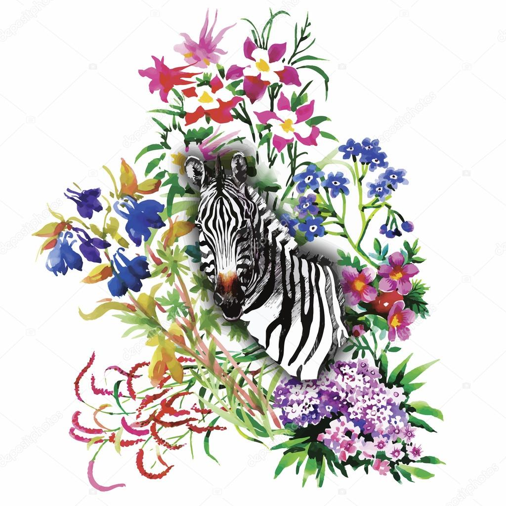 Zebra, flowers. Seamless pattern. Vector background.