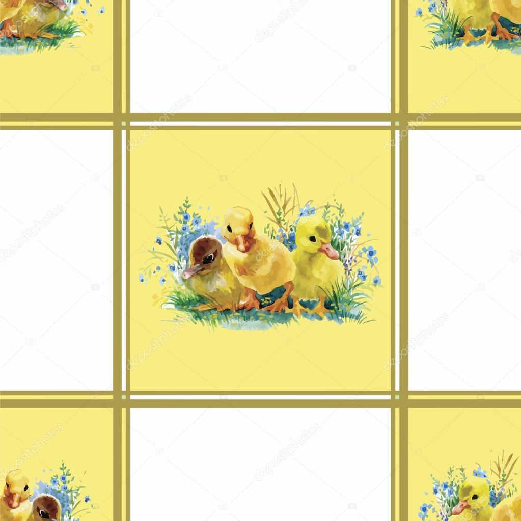 Little fluffy cute watercolor ducklings, chickens and hares with eggs seamless pattern on white background vector illustration
