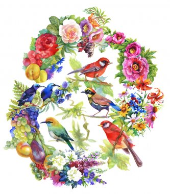 colorful birds with flowers and fruits