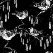 načrtnuté ptáky na větvičky