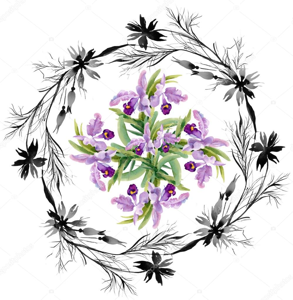 monochrome cornflowers and orchids pattern