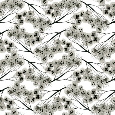 Floral seamless background. Floral branches against white background stock vector