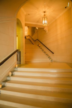 Luxury large white marble staircase,