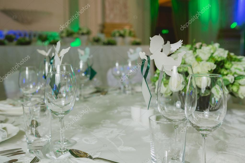 Elegant table set up for wedding banquet