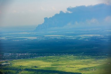 aerial view oil storage in fire