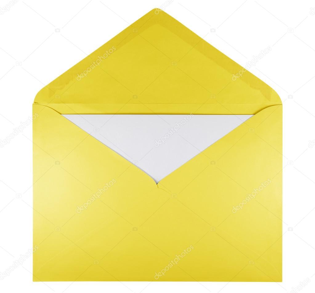 Blank open envelope - yellow — Stock Photo © venakr #99686582