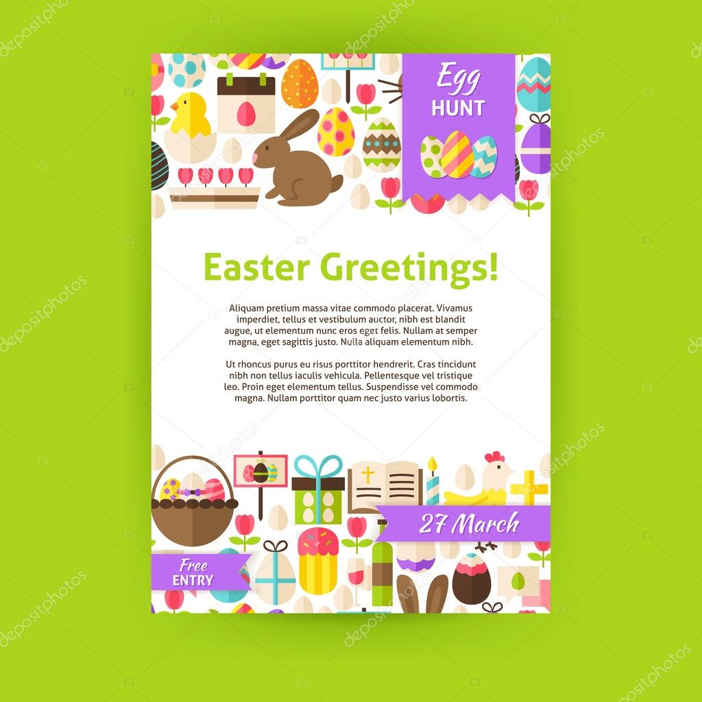 Happy easter holiday vector invitation template poster vetor de happy easter invitation template poster flat design vector illustration of brand identity for spring religious holiday promotion stopboris Images