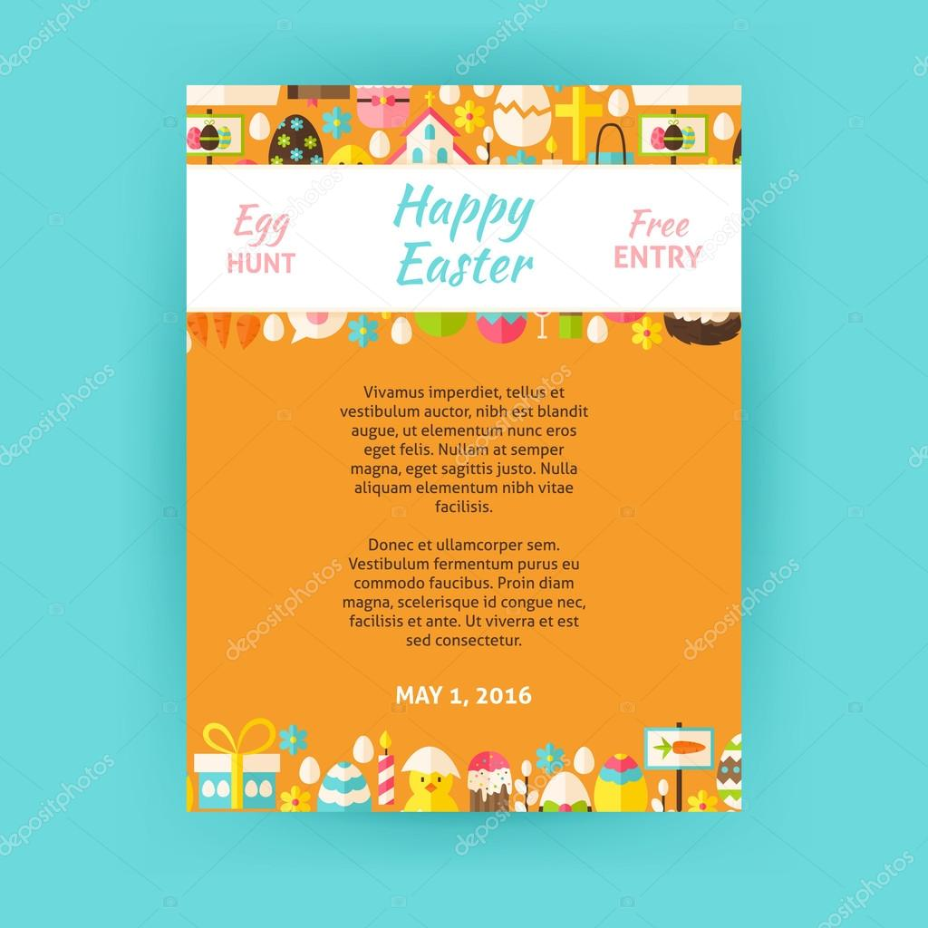 Happy easter invitation vector template poster vetores de stock happy easter invitation template poster flat design vector illustration of brand identity for spring religious holiday promotion stopboris Images
