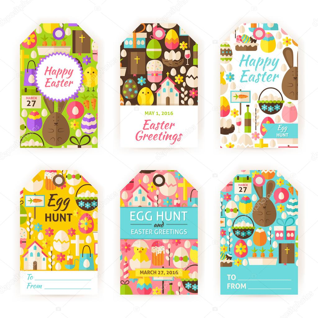 Happy easter vector gift tag template flat set stock vector happy easter gift tag template set flat vector illustration of spring christian labels printable holiday colorful badge design vector by annaleni negle Image collections
