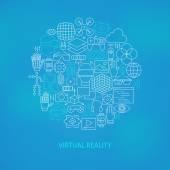 Fényképek Thin Line Virtual Reality Icons Set Circle Concept