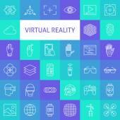 Fényképek Vector Line Art Virtual Reality Icons Set