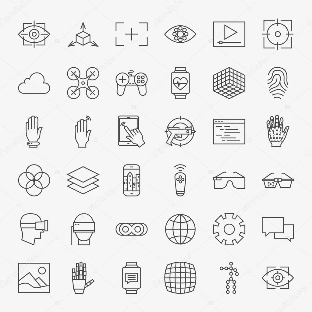 Line Virtual Reality Design Icons Big Set