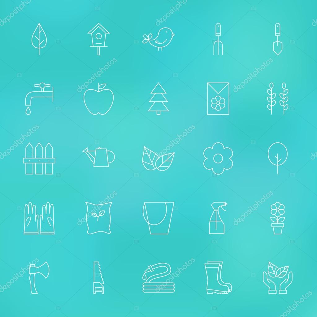 Garden Spring Line Icons Set over Blurred Background