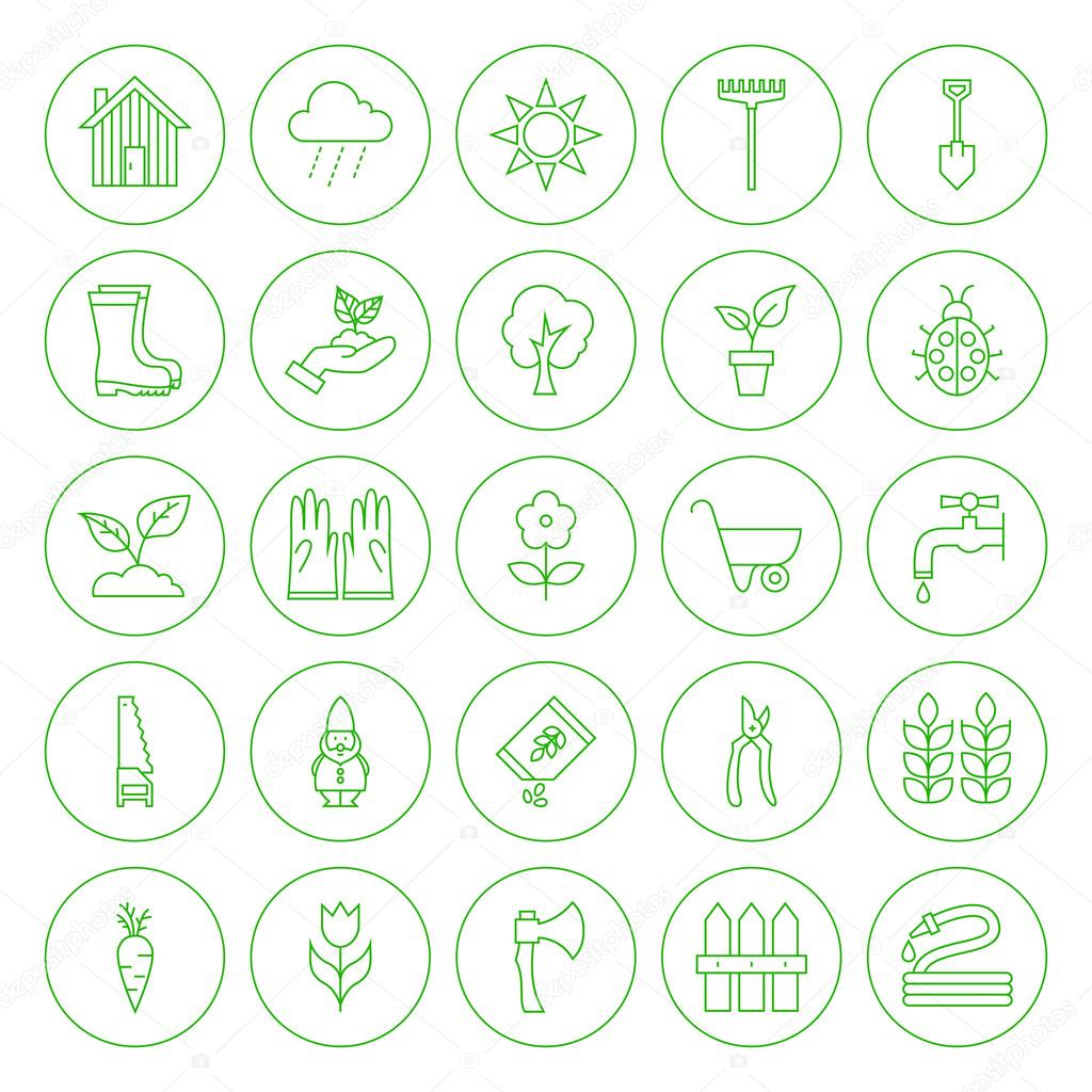 Line Circle Spring Gardening Tools Icons Set