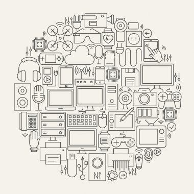 Gadgets and Devices Line Icons Set Circle Shape