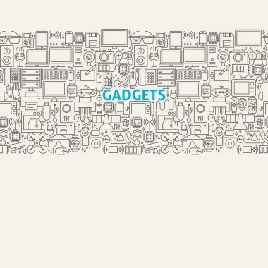 Technology Gadgets Line Art Seamless Web Banner