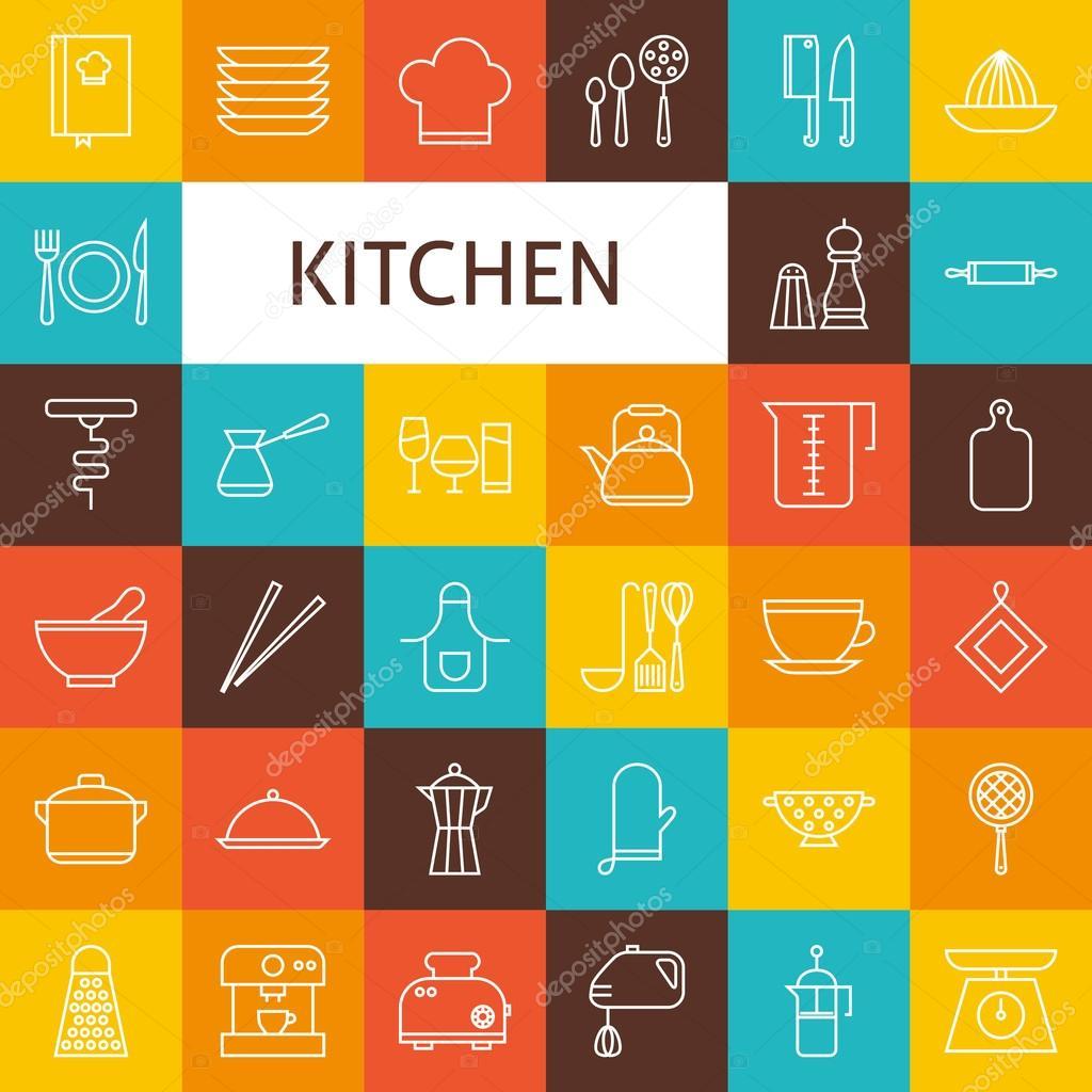 linea arte utensili da cucina e set di icone di utensili cucina di ... - Utensili Cucina On Line