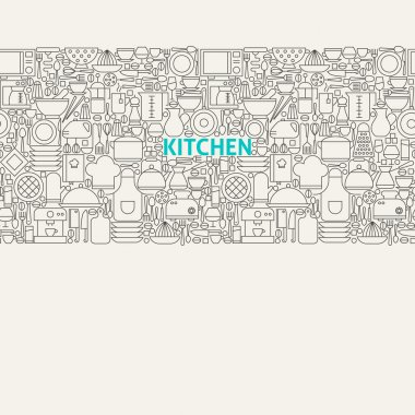 Kitchen Utensils Line Art Seamless Web Banner