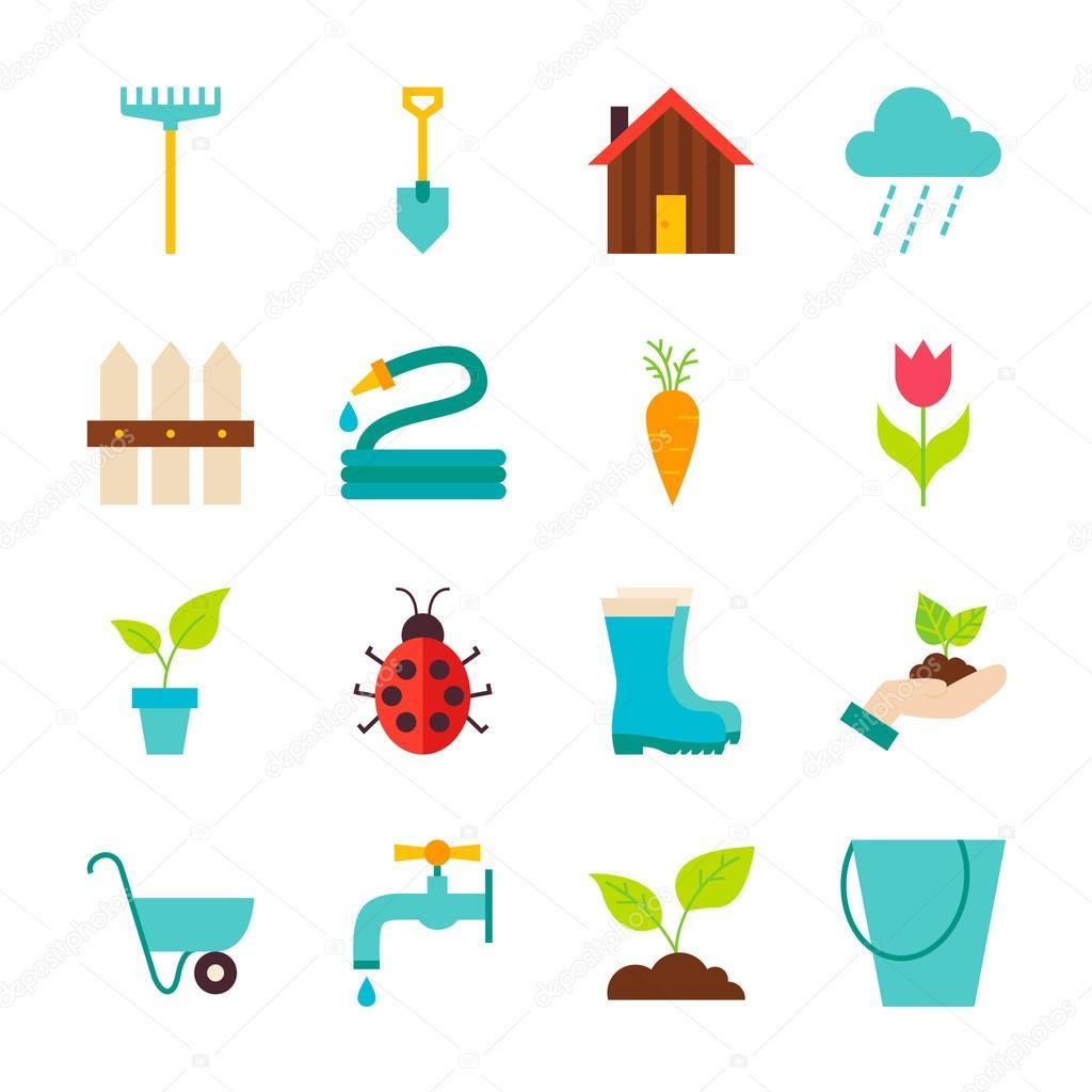 Spring garden flat objetos conjunto isolados sobre o for Objetos de jardineria