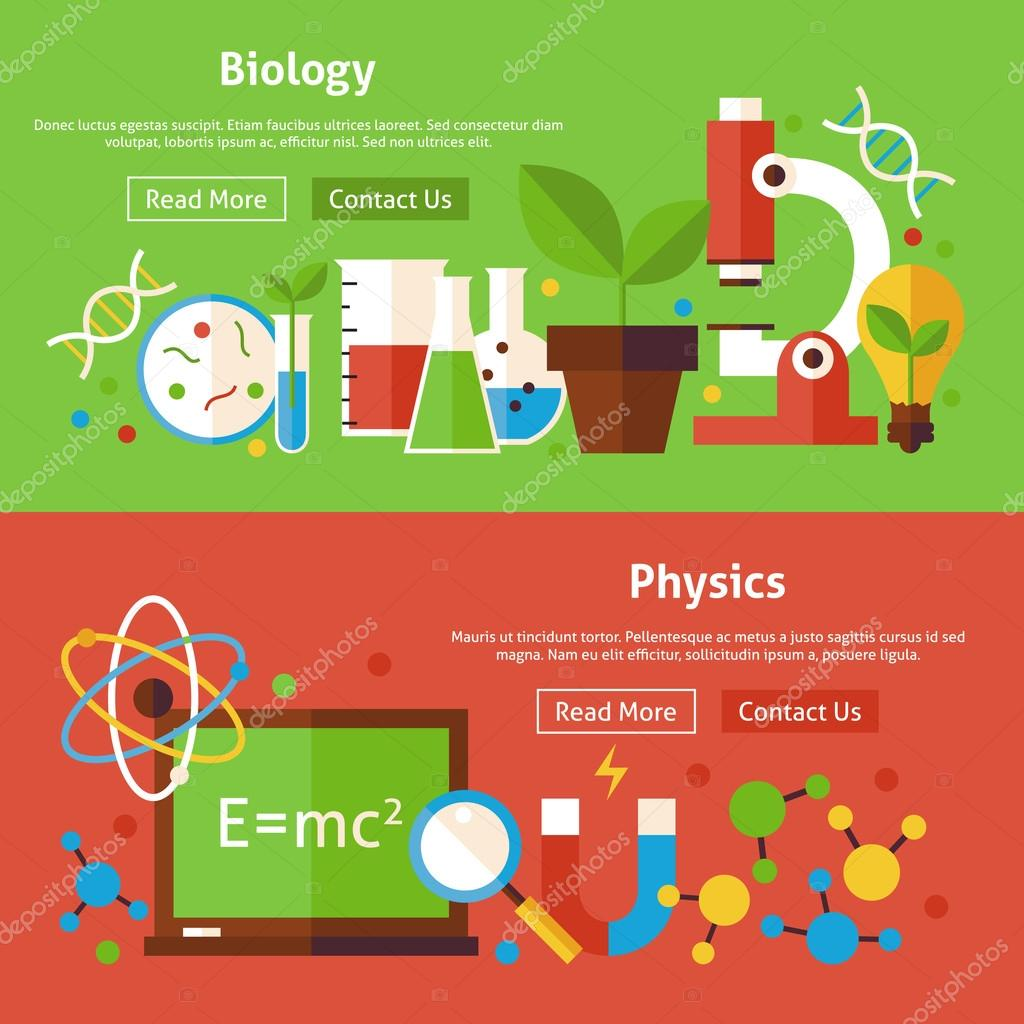 biology and physics science flat website banners set ストック
