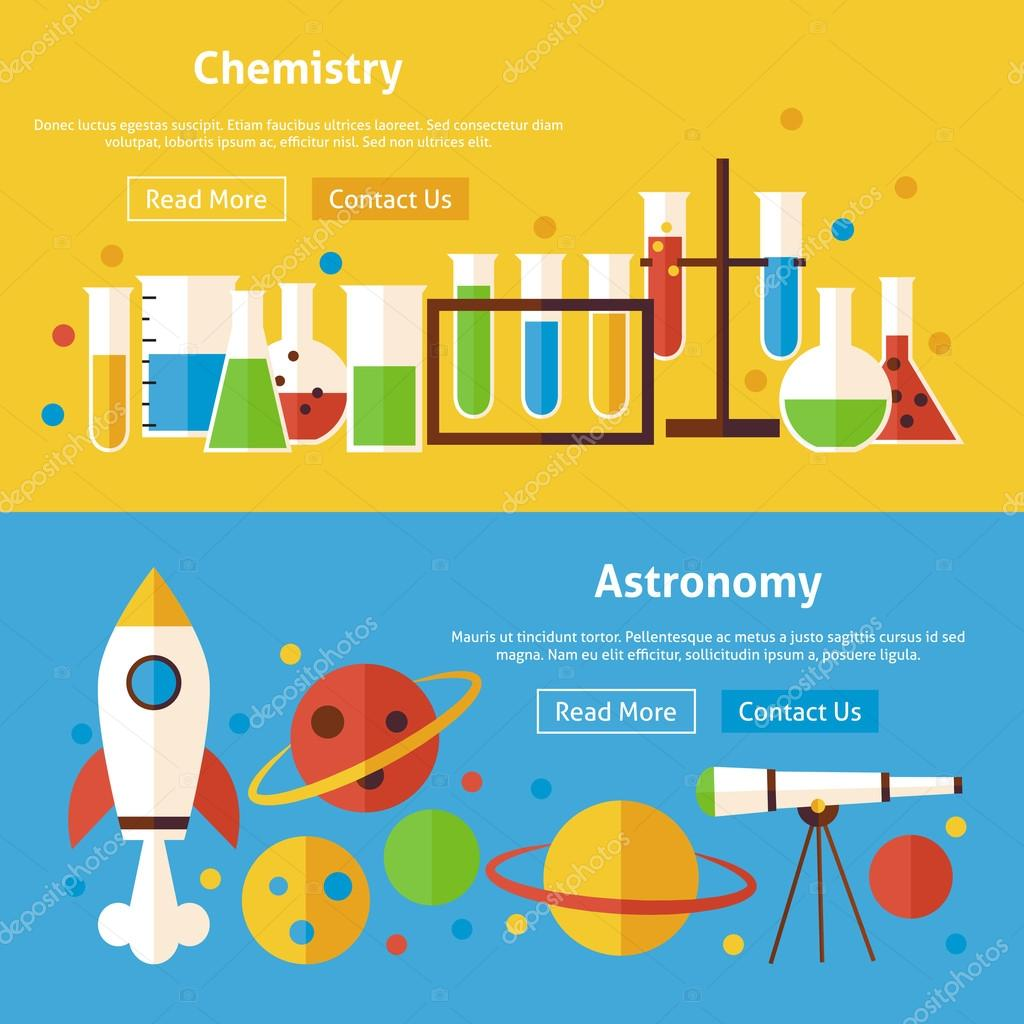 chemistry and astronomy science flat website banners set ストック