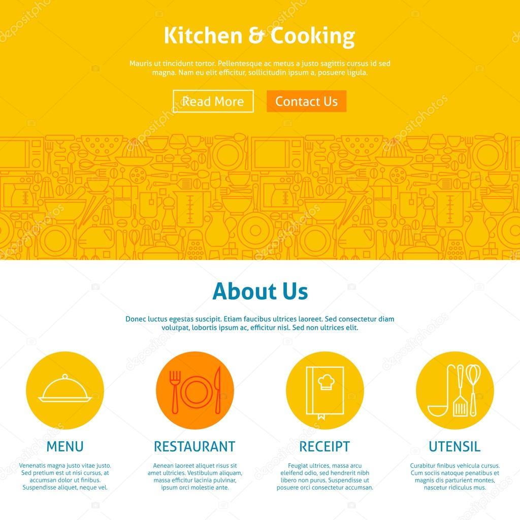 Küche und Kochen Zeilenvorlage Kunst Web Design — Stockvektor ...