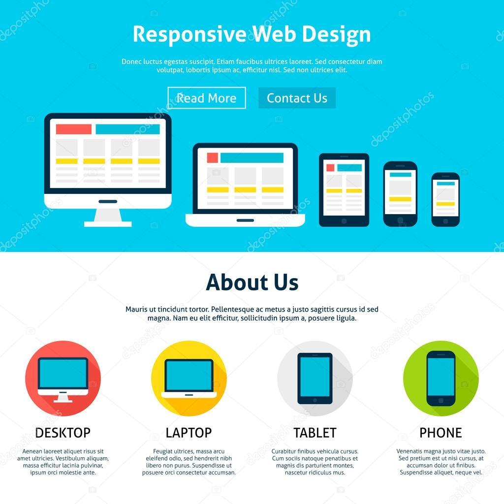 Plantilla de diseño de respuesta plana Web — Vector de stock ...