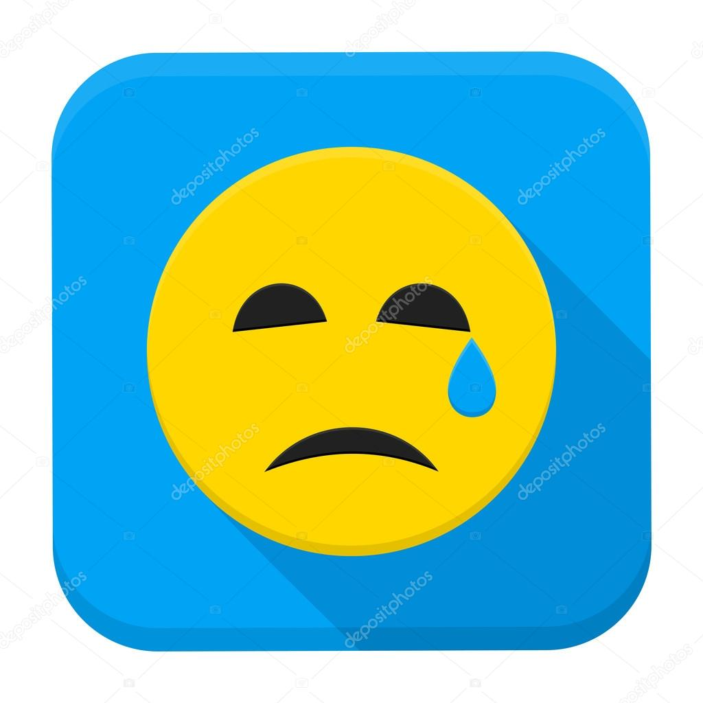crying yellow smiley face app icon stock vector anna leni 111225650