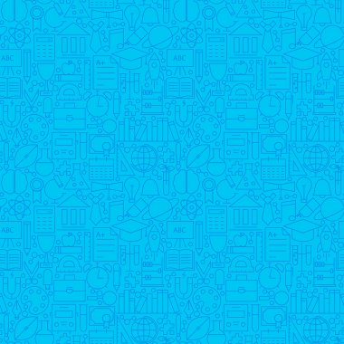 Line Science Education Blue Tile Pattern