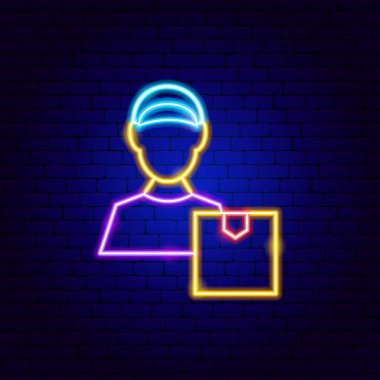 Package Courier Neon Sign. Vector Illustration of Delivery Promotion. icon