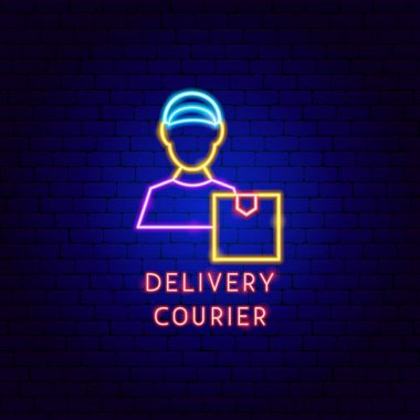 Delivery Courier Neon Label. Vector Illustration of Package Promotion. icon