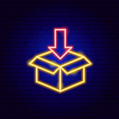 Box In Neon Sign. Vector Illustration of Delivery Promotion. icon