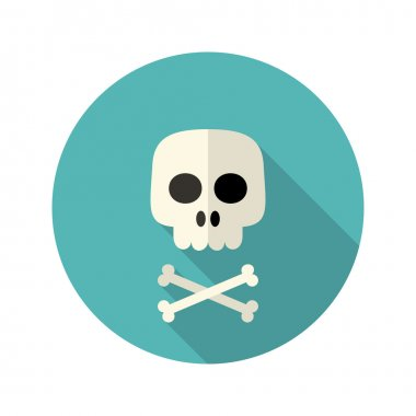 Halloween skull flat circle icon over blue